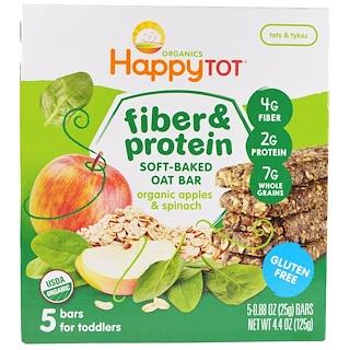 Nurture Inc. (Happy Baby), Happytot, Fiber & Protein Soft-Baked Oat Bar, Organic Apples & Spinach, 5 Bars, 0.88 oz (25 g) Each