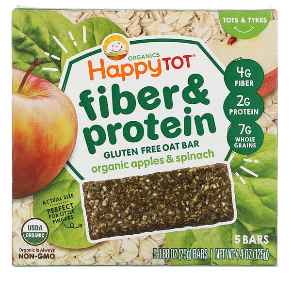 Happytot, avena cocida suave con fibra y proteína, manzanas orgánicas y espinacas, 5 barras, 0,88 oz (25 g) cada una