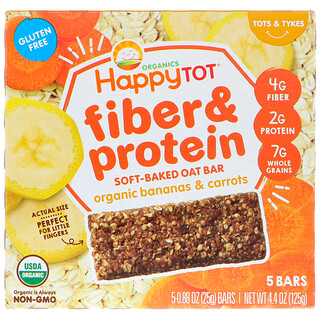 Happy Family Organics, Happytot, Fiber & Protein Soft-Baked Oat Bar, Organic Bananas & Carrots, 5 Bars, 0.88 oz (25 g) Each