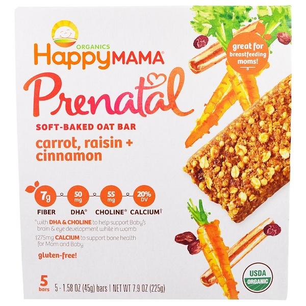 Happy Family Organics, Prenatal Soft Baked Oat Bar, Carrot, Raisin, Cinnamon, 5 Bars 1.58 oz (45g) each (Discontinued Item)