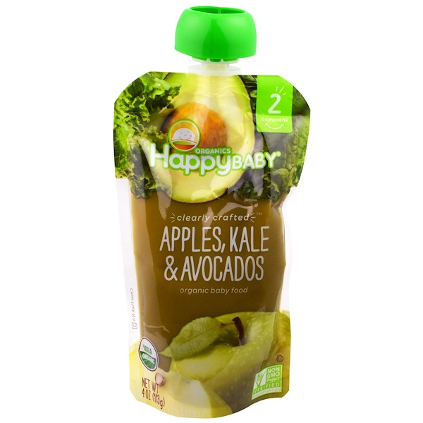 Happy Family Organics, Organic Happy Baby Food, Stage 2, Clearly Crafted,  6+ Months, Apples, Kale & Avocados, 4 oz (113 g)