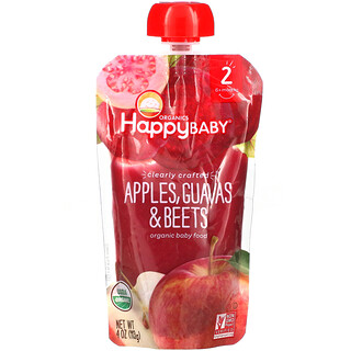 Happy Family Organics, Organic Baby Food, Stage 2, 6+ Months, Apples, Guavas, & Beets, 4.0 oz (113 g)