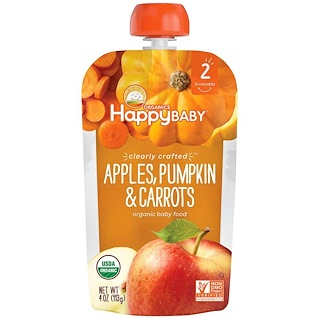 Happy Family Organics, Organic Baby Food, Stage 2, Clearly Crafted, Apples, Pumpkin & Carrots, 6+ Months, 4 oz (113 g)