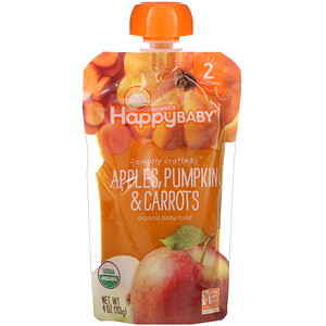 Нэйчэ Инк (Хэппи Бэби), Organic Baby Food, Stage 2, Clearly Crafted, 6+ Months Apples, Pumpkin & Carrots, 4 oz (113 g) отзывы покупателей