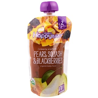 Happy Family Organics, Organic Baby Food, Stage 2, Clearly Crafted, Pears, Squash & Blackberries, 6+ Months, 4.0 oz (113 g)