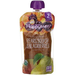 Happy Family Organics, 有机婴儿食品,第 2 阶段,精心制作,6 个月以上,梨、南瓜和黑莓,4 盎司(113 克)