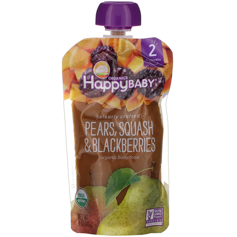 Happy Family Organics, 有機嬰幼兒食品,2 段,Clearly Crafted®,適用於 6 個月以上嬰幼兒,含梨果泥和黑莓,4 盎司(113 克)
