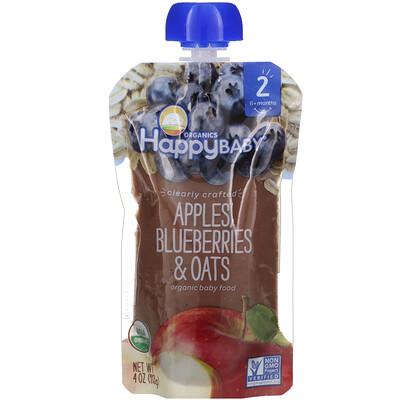 Happy Family Organics Органическое детское питание, 2-й этап, 6+ месяцев, яблоко, голубика и овес, 4,0 унции(113 г)