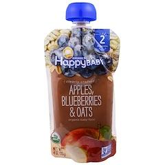 Happy Family Organics, オーガニック・ベイビーフード、ステージ2、生後6ヶ月~、りんご・ブルーベリー・オーツ、4.0オンス(113g)