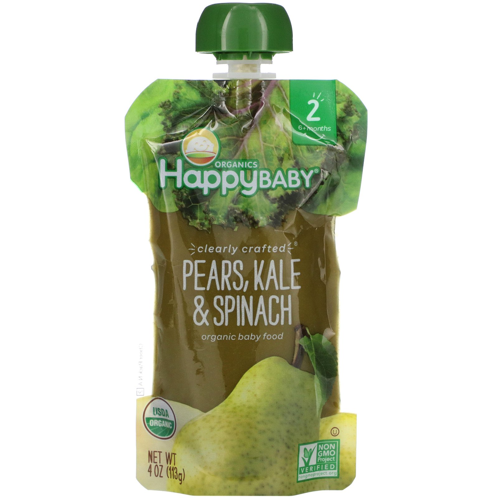 Happy Family Organics, Organic Baby Food, Stage 2, Clearly Crafted, Pears, Kale & Spinach, 6+ Months