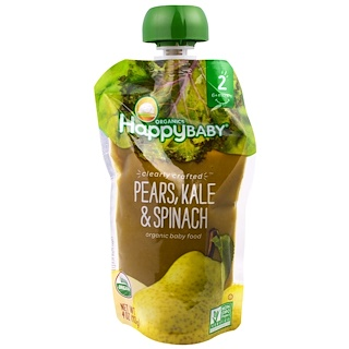 Happy Family Organics, Organic Baby Food, Stage 2, Clearly Crafted, 6+ Months, Pears, Kale & Spinach, 4.0 oz (113 g)