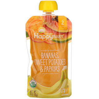 Happy Family Organics, Organic Baby Food, Stage 2, Clearly Crafted, 6+ Months, Bananas, Sweet Potatoes, & Papayas, 4 oz (113 g)