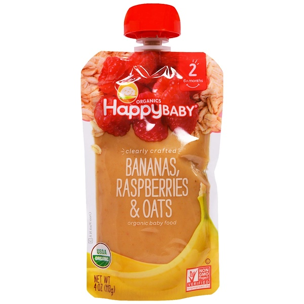 Happy Family Organics, Organic Baby Food, Stage 2, Clearly Crafted, Bananas, Raspberries & Oats, 6+ Months, 4 oz (113 g)