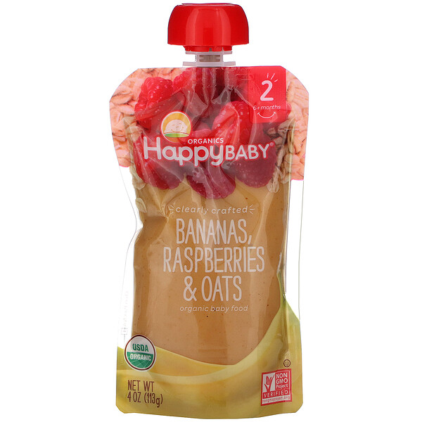 Happy Family Organics, Organic Baby Food, Stage 2, Clearly Crafted, 6+ Months, Bananas, Raspberries & Oats, 4 oz (113 g)