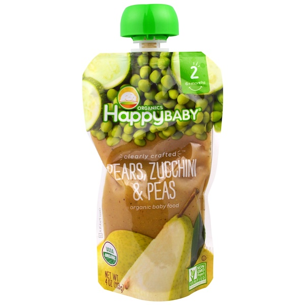 Organic Baby Food, Stage 2, Clearly Crafted   6+ Months, Pears, Zucchini & Peas, 4.0 oz (113 g)
