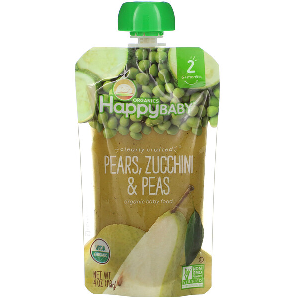 Organic Baby Food, Stage 2, 6+ Months, Pears, Zucchini & Peas, 4 oz (113 g)