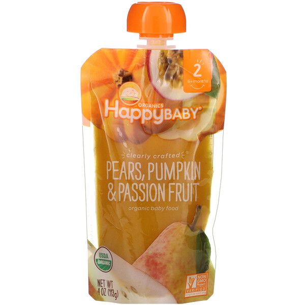 Organic Baby Food, Stage 2, Clearly Crafted,  6+ Months, Pears, Pumpkin, & Passion Fruit, 4.0 oz (113 g)