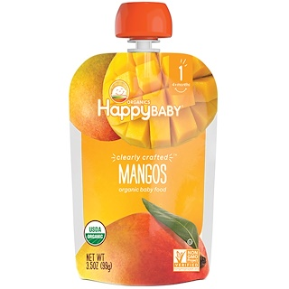 Happy Family Organics, Organic Baby Food, Stage 1, Clearly Crafted, Mangos, 4 + Months, 3.5 oz (99 g)