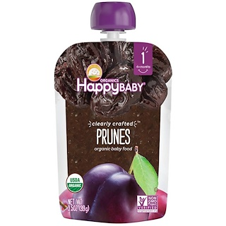 Nurture Inc. (Happy Baby), Organic Baby Food, Stage 1, Clearly Crafted, Prunes, , 4 + Months, 3.5 oz (99 g)