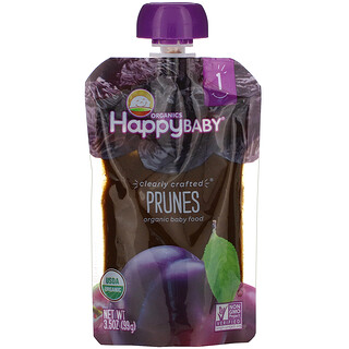 Happy Family Organics, Organic Baby Food, Stage 1, Clearly Crafted, Prunes, 4 + Months, 3.5 oz (99 g)