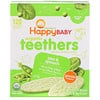 Happy Family Organics, Organic Gentle Teething Wafers, Sitting Baby, Pea & Spinach, 12 Packs, 0.14 oz (4 g) Each
