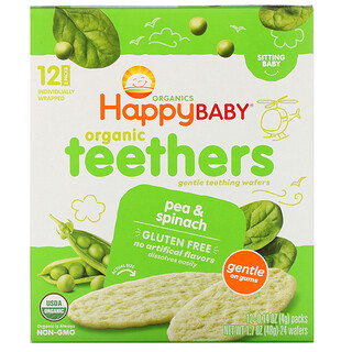 Happy Family Organics, عضاضة أسنان عضوية، رقائق التسنين اللطيفة للرضع بالبازلاء والسبانخ، 12 عبوة، 0.14 أونصة (4 جم) لكل منهما