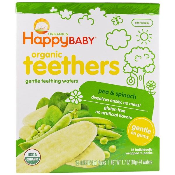 Nurture Inc. (Happy Baby), Gentle Teething Wafers, Organic Teethers, Pea & Spinach, 12 Packs, 0.14 oz (4 g) Each