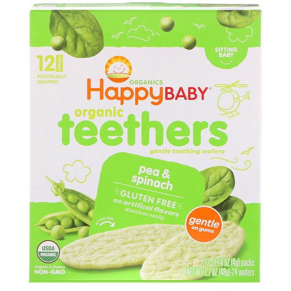 Happy Family Organics, Organic Teethers , Gentle Teething Wafers, Sitting Baby, Pea & Spinach, 12 Packs, 0.14 oz (4 g) Each
