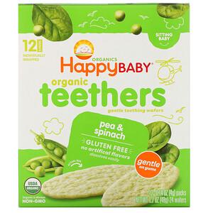 Нэйчэ Инк (Хэппи Бэби), Organic Teethers , Gentle Teething Wafers, Sitting Baby, Pea & Spinach, 12 Packs, 0.14 oz (4 g) Each отзывы покупателей