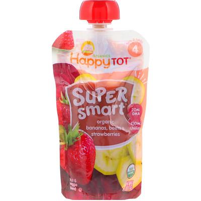 Happy Tot, Super Smart, Fruit & Veggie Blend, Organic Bananas, Beets & Strawberries, Stage 4, 4 oz (113 g) trail mix classic fruit nut blend 9 packs 1 5 oz 42 5 g each