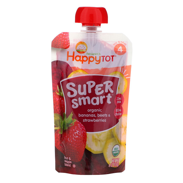 Happy Tot, Super Smart, Fruit & Veggie Blend, Organic Bananas, Beets & Strawberries, Stage 4, 4 oz (113 g)