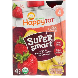 Happy Family Organics, Orgánicos Pequeñín feliz, súper inteligente; mezcla de frutas y verduras; Fase 4; bananas, remolachas y fresas orgánicas; 4 bolsitas; 4 oz (113 g) c/u