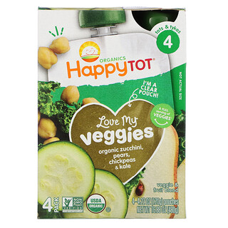 Happy Family Organics, Happy Tot, Stage 4,  Love My Veggies, Organic Zucchini, Pears, Chickpeas & Kale, 4 Pouch, 4.22 oz (120 g) Each