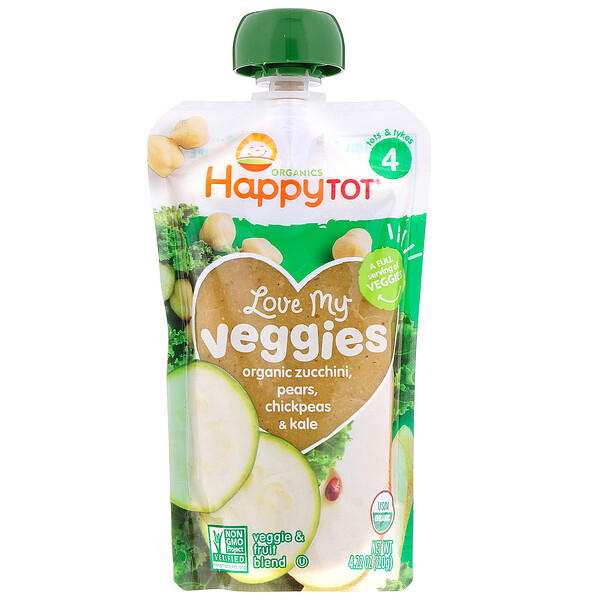Happy Tot orgánicos, vegetales deliciosos, calabacín, peras, garbanzos y col rizada orgánicos, 120g (4,22oz)