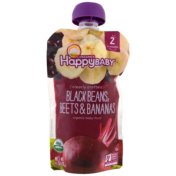 Happy Family Organics, Organic Baby Food, Stage 2, Clearly Crafted   6+ Months, Black Beans, Beets & Bananas, 4 oz (113 g)