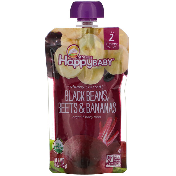Happy Family Organics, Organic Baby Food, Stage 2, Clearly Crafted, 6+ Months, Black Beans, Beets & Bananas, 4 oz (113 g)