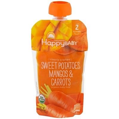 Nurture Inc. (Happy Baby) 有機嬰兒食品,紅薯、芒果、胡蘿蔔,第2階段,6個月以上,4盎司(113克)