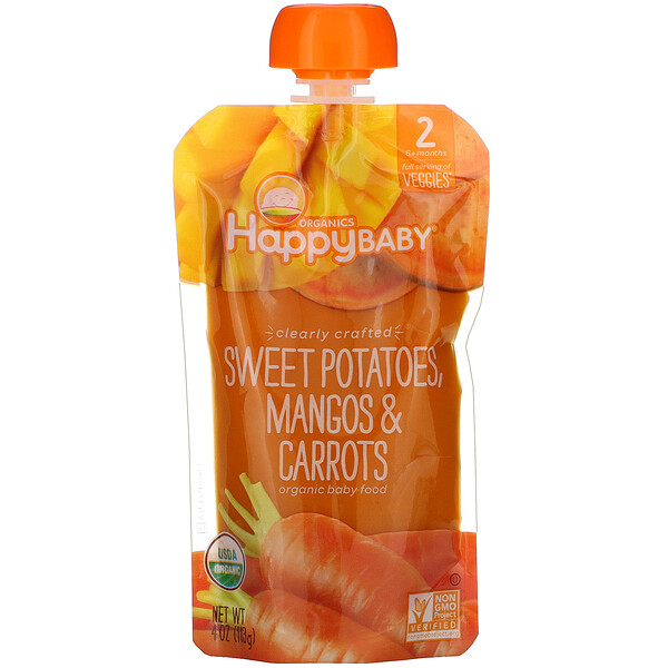 Happy Family Organics, 有機嬰兒食品,第 2 階段,精心製作,6 個月以上、馬鈴薯、芒果和胡蘿蔔,4 盎司(113 克)