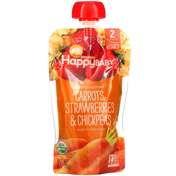 Happy Family Organics, Happy Baby, Organic Baby Food, Stage 2, Carrots, Strawberries & Chickpeas, 4 oz (113 g)