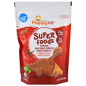 Нэйчэ Инк (Хэппи Бэби), Organics Happy Tot, Super Foods, Puffed Ancient Grain Dino Snack, Organic Tomato, Basil & Cheddar, 1.48 oz (42 g) отзывы покупателей