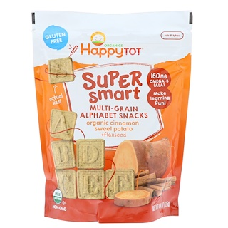 Happy Family Organics, Happy Tot, Super Smart, Multi-Grain Alphabet Snacks, Organic Cinnamon Sweet Potato + Flaxseed, 4.4 oz (125 g)