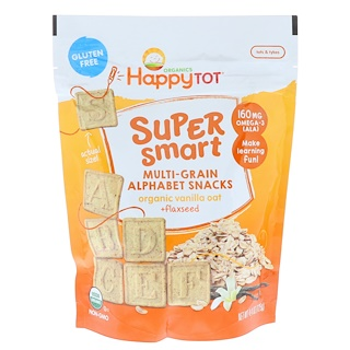 Happy Family Organics, Happy Tot, Super Smart, Multi-Grain Alphabet Snacks, Organic Vanilla Oat + Flaxseed, 4.4 oz (125 g)
