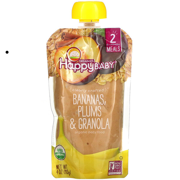 Happy Baby, Organic Baby Food, Stage 2, Bananas, Plums & Granola, 4 oz (113 g)