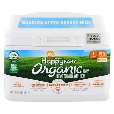 Organics Happy Baby, Молочная смесь с железом, Уровень 1, с рождения до 12 месяцев, 595 г (21 oz) humana эксперт 2 адаптированная сухая молочная смесь от 6 до 12 месяцев 350 г