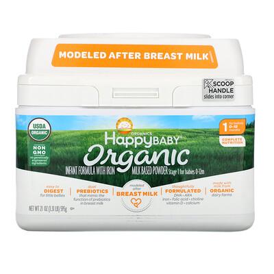 Купить Happy Family Organics Organics Happy Baby, Молочная смесь с железом, Уровень 1, с рождения до 12 месяцев, 595 г (21 oz)