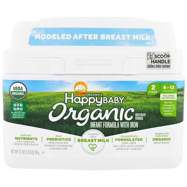 Organics Happy Baby, Infant Formula With Iron, Stage 2, 6-12 Months, 21 oz (595 g)