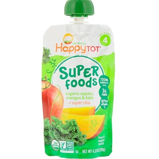 Happy Family Organics, Organics Happy Tot, Super Foods, Organic Apples, Mangos & Kale + Super Chia, 4.22 oz (120 g)