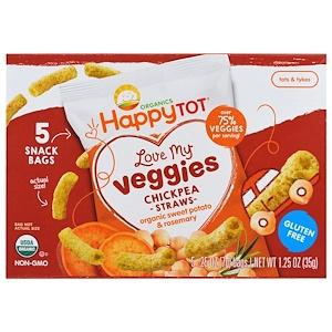 Nurture Inc. (Happy Baby), Счастоивый малыш Organics, люблю мои овощи, мешочки с соломкой из нута, органический батат и размарин, 5 пакетов, 0,25 унции (7 г) каждый