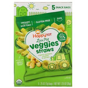 Нэйчэ Инк (Хэппи Бэби), Organics Happy Tot, Love My Veggies, Chickpea Straws Snack Bags, Organic Cheddar & Spinach, 5 Bags, 0.25 oz (7 g) Each отзывы