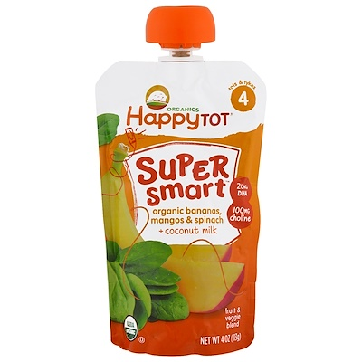 Nurture Inc. (Happy Baby) Happy Tot,超級聰明,水果和素食混合,第4階段,有機香蕉、芒果和菠菜、椰奶,4盎司(113克)